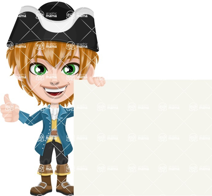 Pirate Boy Cartoon Vector Character AKA Willy - Sign 7