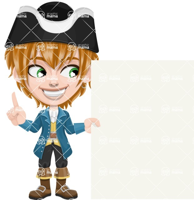 Pirate Boy Cartoon Vector Character AKA Willy - Sign 8