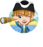 Pirate Boy Cartoon Vector Character AKA Willy - Shape 1