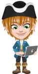 Pirate Boy Cartoon Vector Character AKA Willy - Laptop