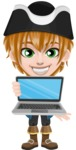 Pirate Boy Cartoon Vector Character AKA Willy - Laptop 1
