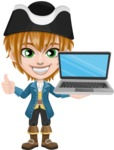 Pirate Boy Cartoon Vector Character AKA Willy - Laptop 2