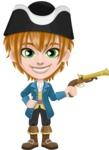 Pirate Boy Cartoon Vector Character AKA Willy - Gun 1