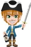 Pirate Boy Cartoon Vector Character AKA Willy - Bottle of rum and Sword