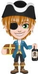 Pirate Boy Cartoon Vector Character AKA Willy - Treasure chest and Rum