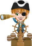 Pirate Boy Cartoon Vector Character AKA Willy - Ship wheel and Spy glass