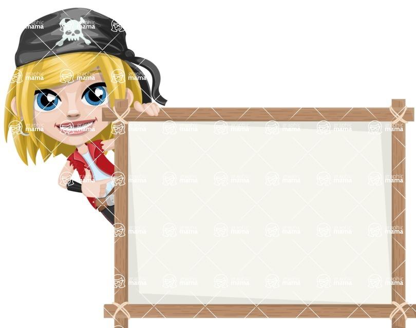 Girl with Pirate Costume Cartoon Vector Character AKA Dea - Presentation 5