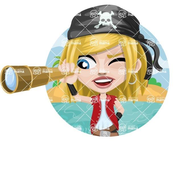 Girl with Pirate Costume Cartoon Vector Character AKA Dea - Shape 1