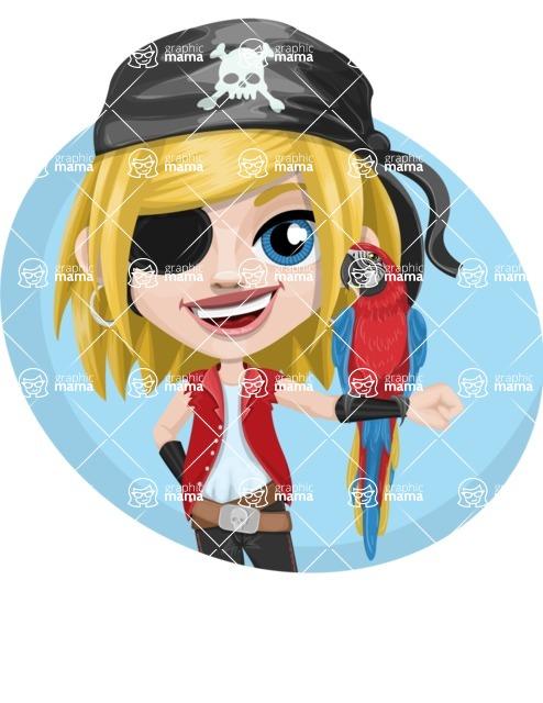 Girl with Pirate Costume Cartoon Vector Character AKA Dea - Shape 3
