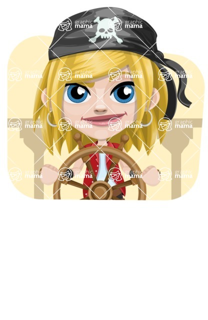 Girl with Pirate Costume Cartoon Vector Character AKA Dea - Shape 4