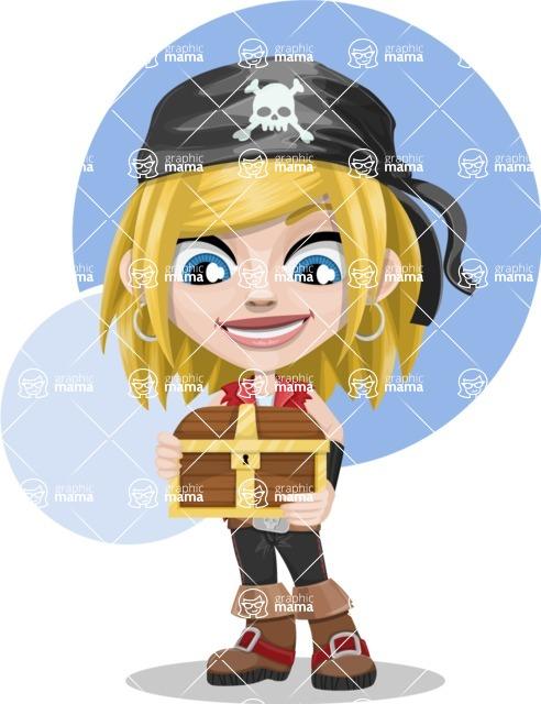 Girl with Pirate Costume Cartoon Vector Character AKA Dea - Shape 5