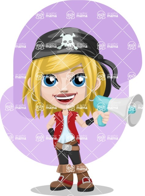 Girl with Pirate Costume Cartoon Vector Character AKA Dea - Shape 9