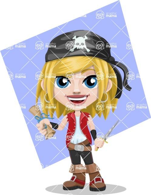 Girl with Pirate Costume Cartoon Vector Character AKA Dea - Shape 10