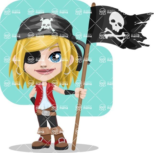 Girl with Pirate Costume Cartoon Vector Character AKA Dea - Shape 11