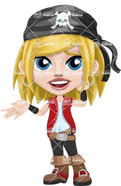 Girl with Pirate Costume Cartoon Vector Character AKA Dea - Sorry