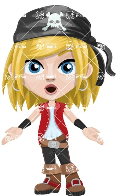 Girl with Pirate Costume Cartoon Vector Character AKA Dea - Stunned