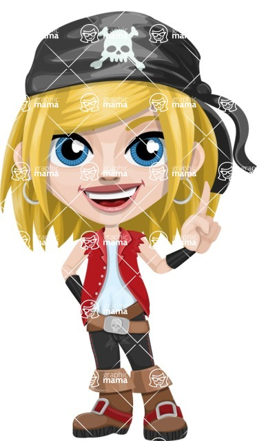 Girl with Pirate Costume Cartoon Vector Character AKA Dea - Attention