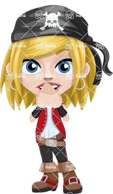 Girl with Pirate Costume Cartoon Vector Character AKA Dea - Blank