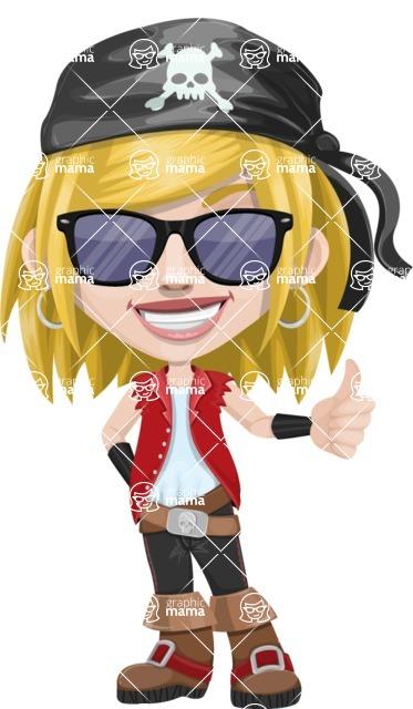 Girl with Pirate Costume Cartoon Vector Character AKA Dea - Sunglasses