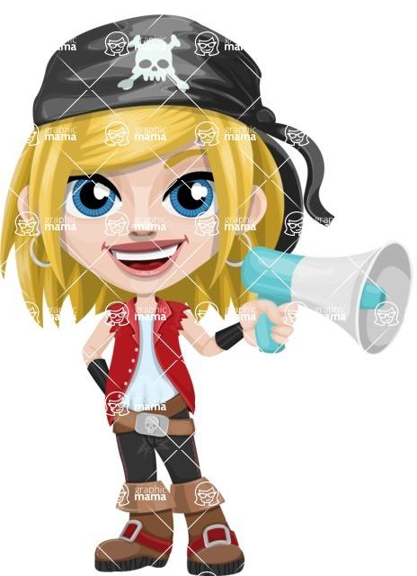 Girl with Pirate Costume Cartoon Vector Character AKA Dea - Loudspeaker