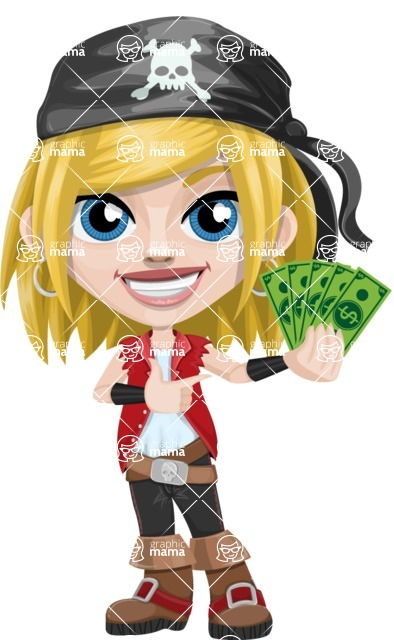 Girl with Pirate Costume Cartoon Vector Character AKA Dea - Show me the Money
