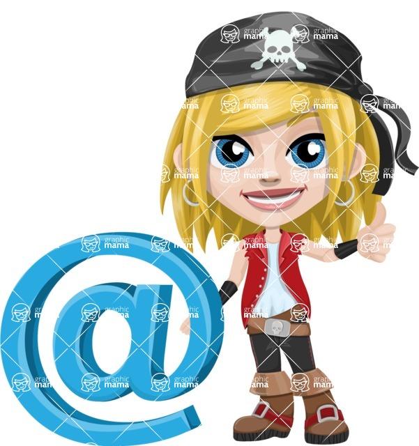 Girl with Pirate Costume Cartoon Vector Character AKA Dea - E-mail