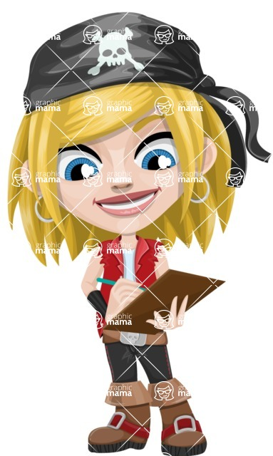Girl with Pirate Costume Cartoon Vector Character AKA Dea - Note 2