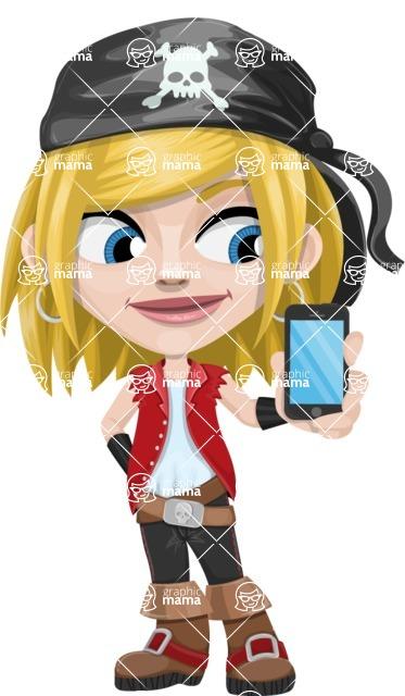 Girl with Pirate Costume Cartoon Vector Character AKA Dea - iPhone