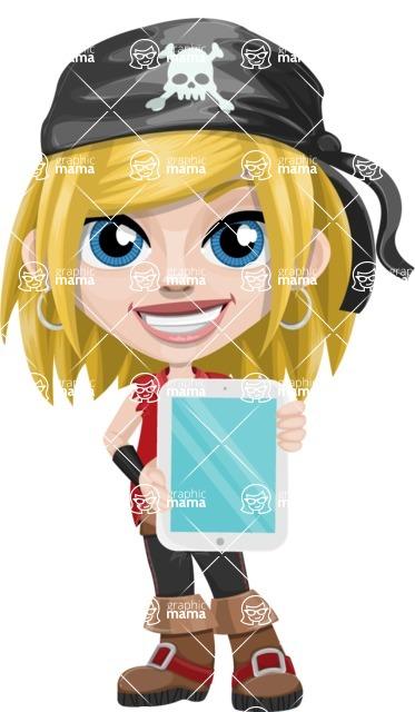 Girl with Pirate Costume Cartoon Vector Character AKA Dea - iPad 1