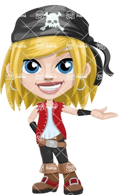 Girl with Pirate Costume Cartoon Vector Character AKA Dea - Showcase