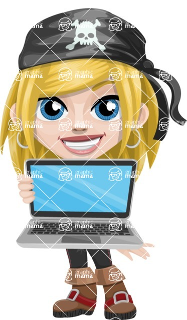 Girl with Pirate Costume Cartoon Vector Character AKA Dea - Laptop 1