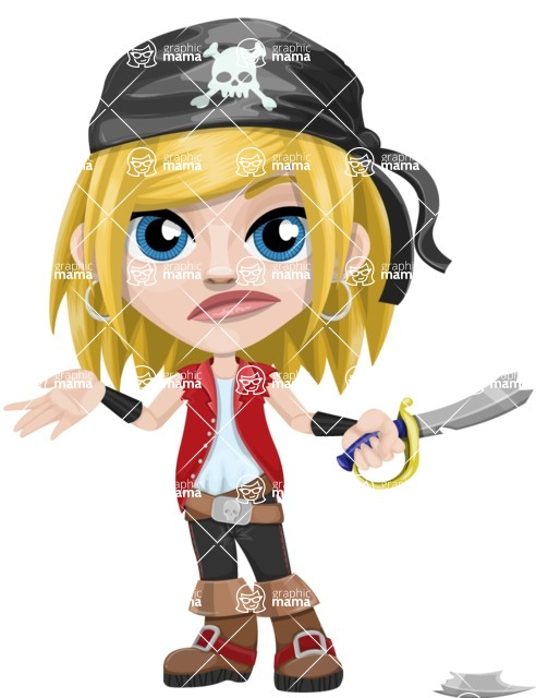 Girl with Pirate Costume Cartoon Vector Character AKA Dea - Under Construction