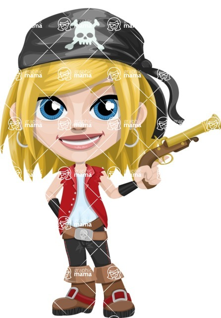 Girl with Pirate Costume Cartoon Vector Character AKA Dea - Gun 1