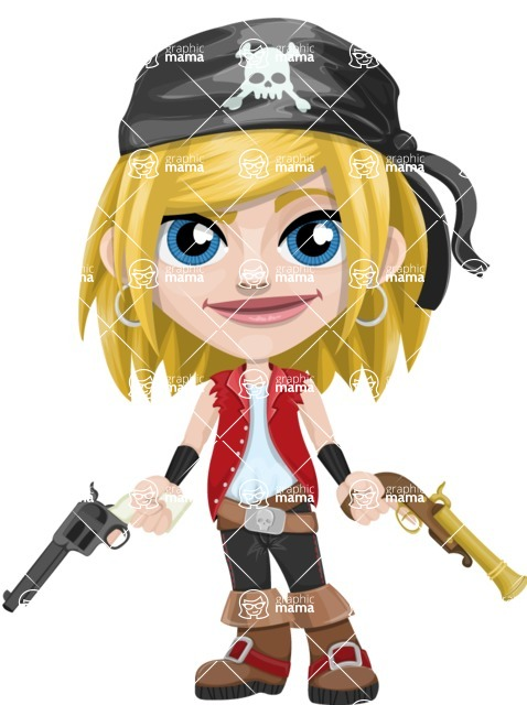Girl with Pirate Costume Cartoon Vector Character AKA Dea - Gun 2