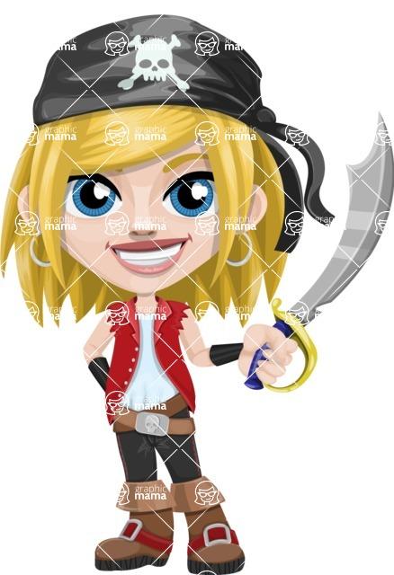 Girl with Pirate Costume Cartoon Vector Character AKA Dea - Sword 1