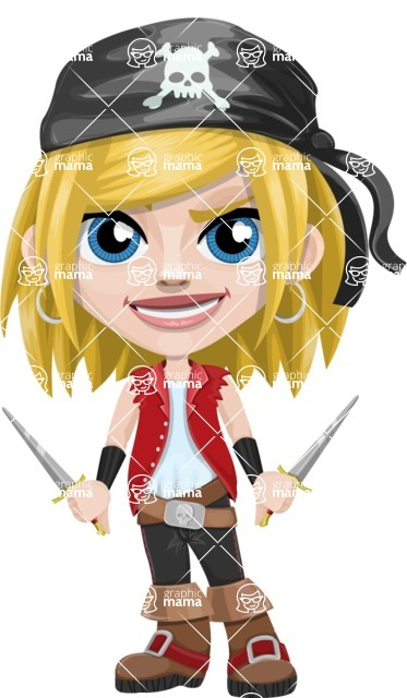 Girl with Pirate Costume Cartoon Vector Character AKA Dea - Daggers