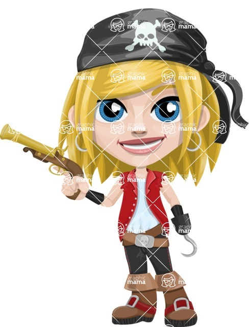 Girl with Pirate Costume Cartoon Vector Character AKA Dea - Gun and Hook