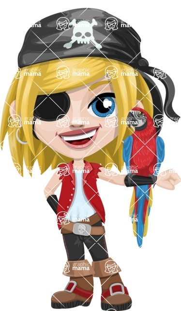 Girl with Pirate Costume Cartoon Vector Character AKA Dea - Eyepatch and Parrot