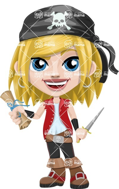 Girl with Pirate Costume Cartoon Vector Character AKA Dea - Map and Dagger