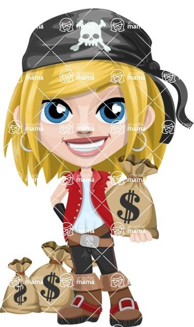 Girl with Pirate Costume Cartoon Vector Character AKA Dea - Bag of money