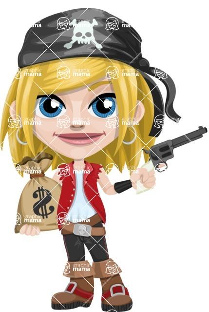 Girl with Pirate Costume Cartoon Vector Character AKA Dea - Bag of money and Gun