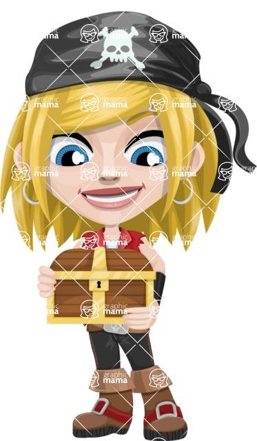 Girl with Pirate Costume Cartoon Vector Character AKA Dea - Treasure chest 1