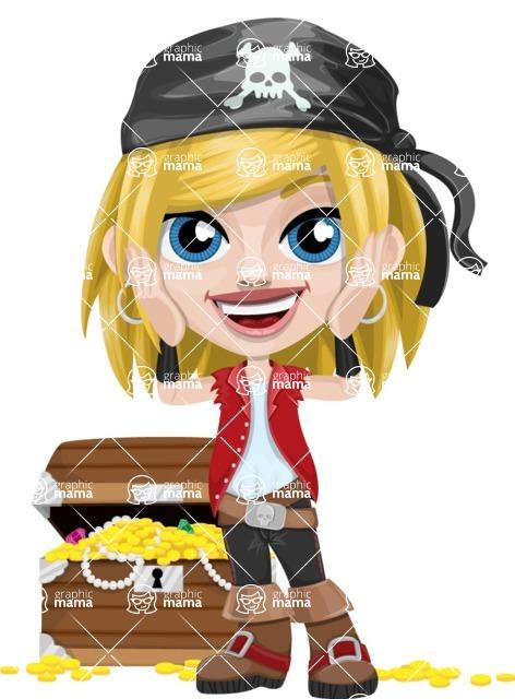 Girl with Pirate Costume Cartoon Vector Character AKA Dea - Treasure chest 2