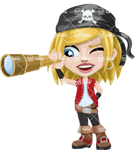 Girl with Pirate Costume Cartoon Vector Character AKA Dea - Spy glass