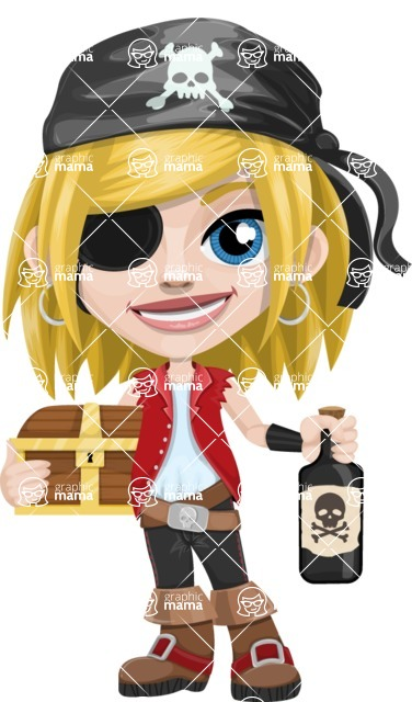 Girl with Pirate Costume Cartoon Vector Character AKA Dea - Treasure chest and Rum