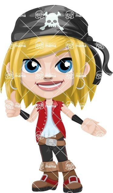 Girl with Pirate Costume Cartoon Vector Character AKA Dea - Show 2