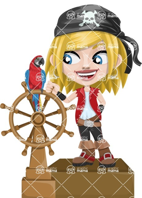 Girl with Pirate Costume Cartoon Vector Character AKA Dea - Ship wheel and Parrot