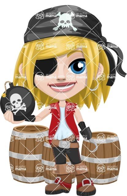 Girl with Pirate Costume Cartoon Vector Character AKA Dea - Barrels and Bomb