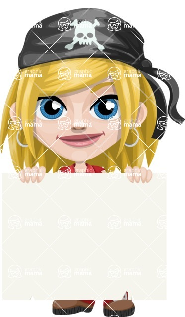 Girl with Pirate Costume Cartoon Vector Character AKA Dea - Sign 5