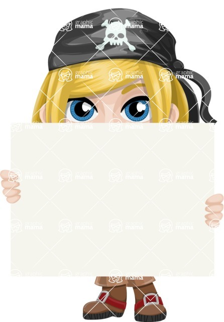 Girl with Pirate Costume Cartoon Vector Character AKA Dea - Sign 6